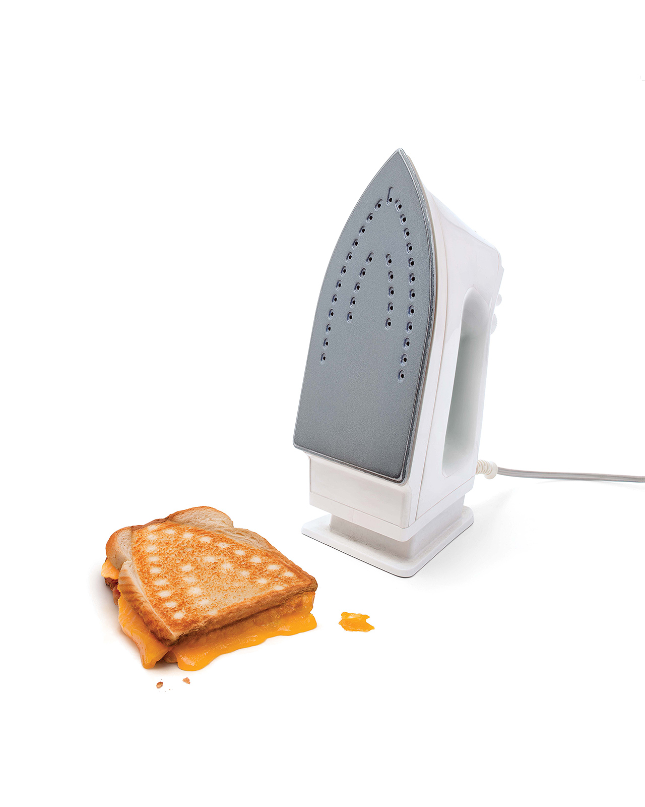 A grilled cheese sandwich made with an iron